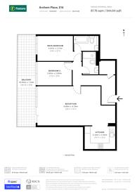 Large floorplan for Arnhem Wharf, Canary Wharf, E14