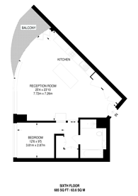 Large floorplan for Canaletto Tower, Angel, EC1V