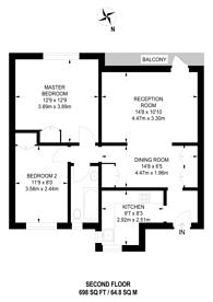 Large floorplan for Grange Road, Sutton, SM2