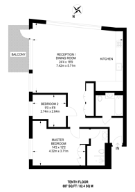 Large floorplan for Kent Building, Canning Town, E14