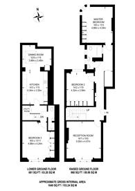 Large floorplan for Cornwall Gardens, South Kensington, SW7