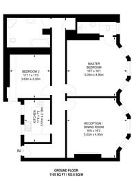 Large floorplan for Kensington Court, High Street Kensington, W8