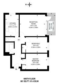 Large floorplan for Dilton Gardens, Roehampton, SW15