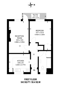 Large floorplan for Cambridge Gardens, Kingston, KT1