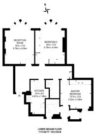 Large floorplan for Bickenhall Street, Marylebone, W1U