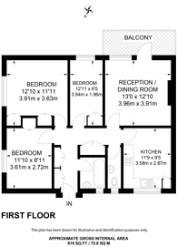 Large floorplan for Wiltshire Close, Chelsea, SW3