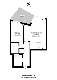 Large floorplan for Biscayne Avenue, Canary Wharf, E14