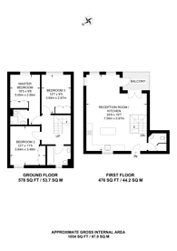 Large floorplan for Carter House, Woolwich, SE18