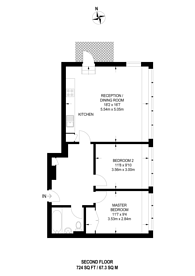 Large floorplan for Courtenay House, Brixton Hill, SW2
