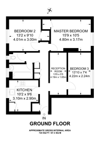 Large floorplan for Kingsnympton Park, Kingston Hill, KT2