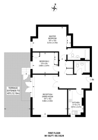 Large floorplan for Elm Quay Court, Nine Elms, SW8