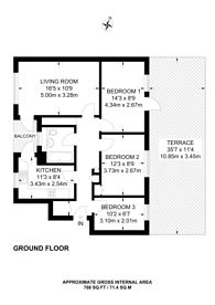 Large floorplan for Chichester Road, Little Venice, W2