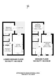Large floorplan for Queens Gate Mews, South Kensington, SW7