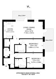 Large floorplan for Fulham Reach, Hammersmith, W6