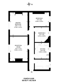 Large floorplan for Dawes Road, Fulham Broadway, SW6
