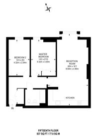 Large floorplan for Burford Wharf Apartments, Stratford, E15