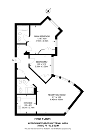 Large floorplan for Bina Gardens, Earls Court, SW5