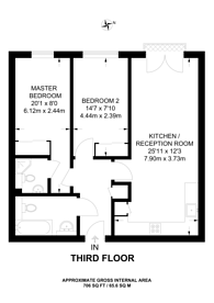Large floorplan for Streatham Place, Brixton Hill, SW2