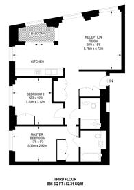 Large floorplan for Ponton Road, Nine Elms, SW8