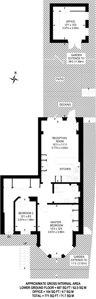 Large floorplan for Woodland Rise, Muswell Hill, N10