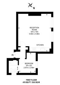 Large floorplan for Wimbledon Park Road, West Hill, SW18