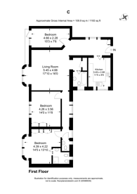 Large floorplan for Willesden Lane, Cricklewood, NW6