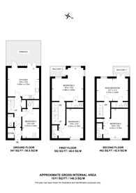 Large floorplan for Lancaster Drive, Canary Wharf, E14
