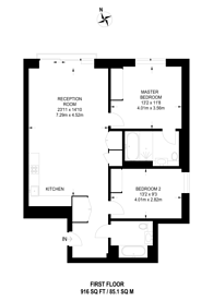 Large floorplan for Seagrave Road, West Brompton, SW6