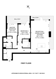 Large floorplan for Knaresborough Drive, Earlsfield, SW18