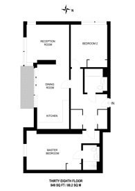 Large floorplan for Maine Tower, Isle Of Dogs, E14