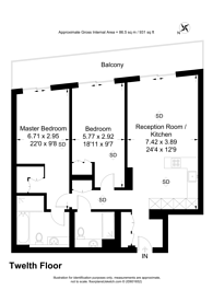 Large floorplan for Kings Gate Walk, Victoria, SW1E