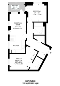 Large floorplan for Stockwell Park Walk, Brixton, SW9