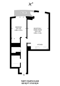 Large floorplan for Charrington Tower, Canary Wharf, E14