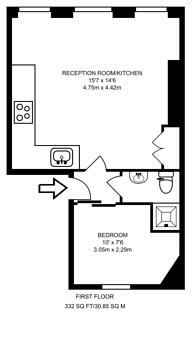 Large floorplan for Cross Street, Angel, N1