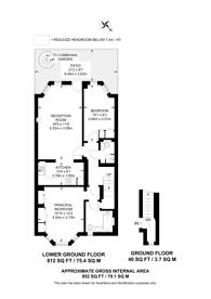 Large floorplan for Cresswell Gardens, South Kensington, SW5