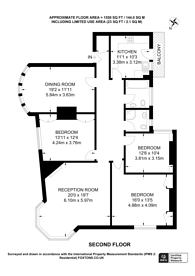 Large floorplan for Cholmley Gardens, West Hampstead, NW6