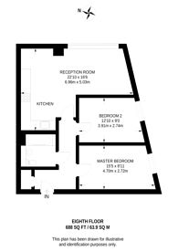 Large floorplan for Oceanis Apartments, Royal Docks, E16