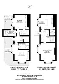 Large floorplan for Observatory Gardens, Kensington, W8