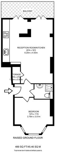 Large floorplan for Westwick Gardens, Brook Green, W14
