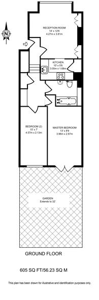 Large floorplan for Moring Road, Tooting, SW17