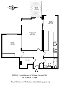Large floorplan for Seaford Street, Bloomsbury, WC1H