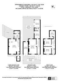 Large floorplan for Oxford Road North, Chiswick, W4