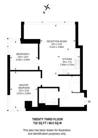 Large floorplan for City Road, Angel, EC1V