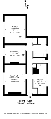Large floorplan for Wilbraham House, Vauxhall, SW8