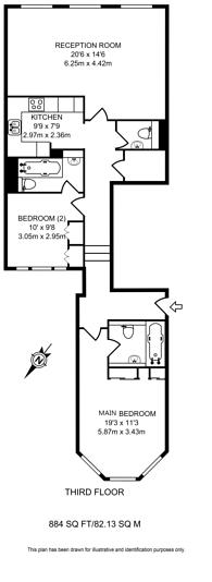 Large floorplan for Bramham Gardens, South Kensington, SW5