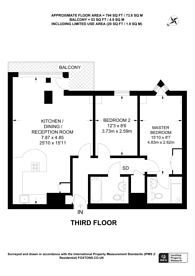 Large floorplan for Brewhouse Lane, Putney, SW15