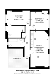 Large floorplan for Great Newport Street, Covent Garden, WC2H