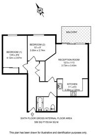 Large floorplan for Hanover House, Vauxhall, SW8