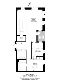 Large floorplan for Belle Vue Apartments, Hampstead, NW3