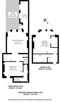 Large floorplan for Cadogan Gardens, Chelsea, SW3